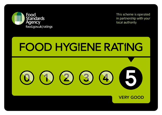 Food Standards Agency Rating Scheme Stciker - Score of 5