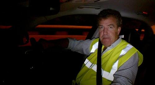 Jeremy Clarkson wearing a high vis jacket